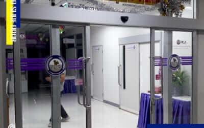 การไฟฟ้าตำบลโคกขาม ติดตั้ง ระบบประตูเลื่อนอัตโนมัติ (AUTO SLIDE DOOR)